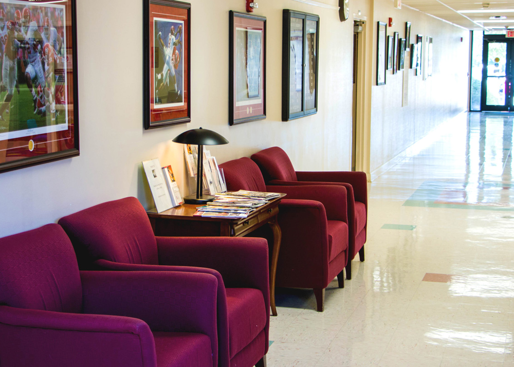 a comfortable seating area in a hallway of the Speech and Hearing Center
